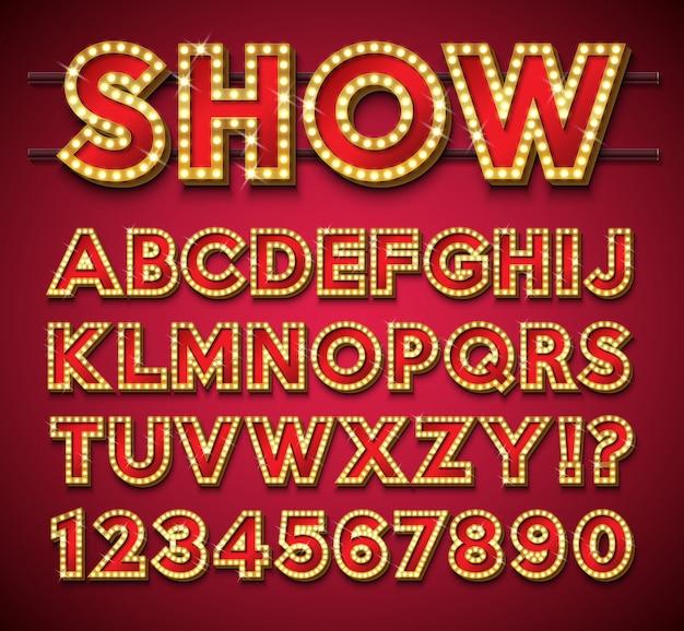 Gloeilampalfabet met gouden kader en schaduw op rode achtergrond. Premium Vector