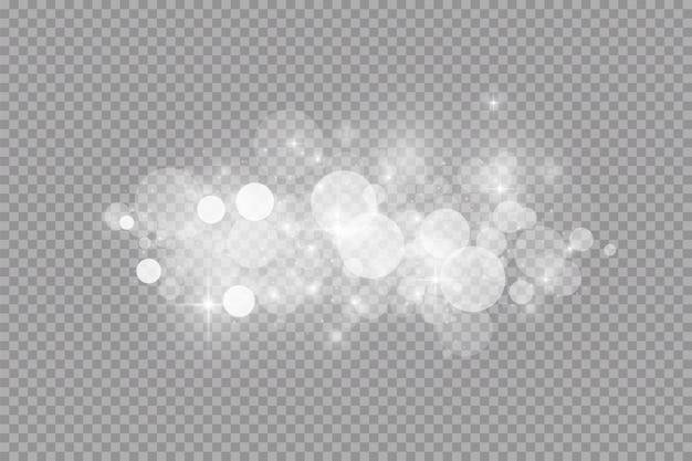 Glow lichteffect. illustratie. witte vonken en glitter speciaal lichteffect. Premium Vector