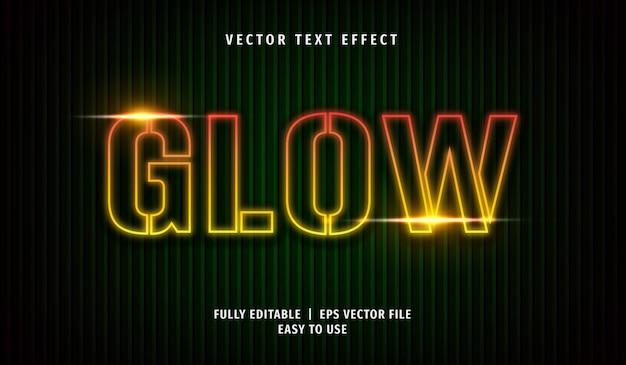 Glow text-effect, bewerkbare tekststijl Premium Vector