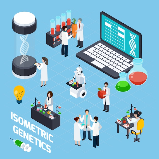 Gmo isometrische samenstelling Gratis Vector