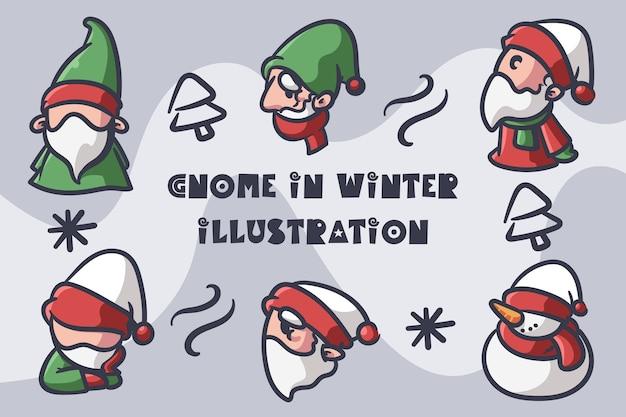 Gnome in winter illustratie Premium Vector
