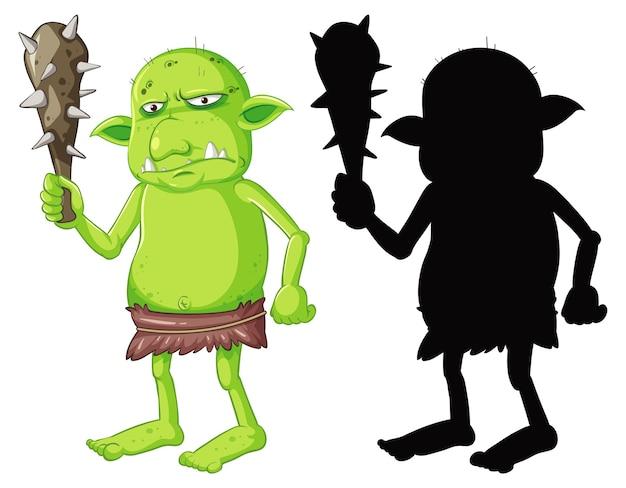 Goblin of trol met jachtgereedschap in kleur en silhouet in stripfiguur op witte achtergrond Gratis Vector