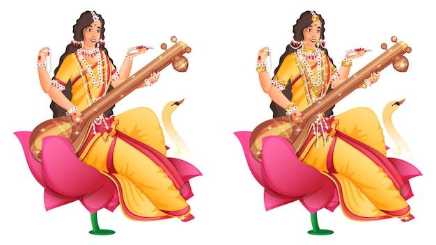 Godin saraswati maa karakter op lotusbloem in twee afbeeldingen Premium Vector