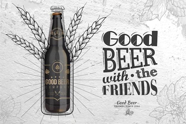 Goed bier met vrienden drankadvertentie Gratis Vector