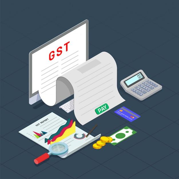 Goed dienstverleningsconcept met financiële elementen Premium Vector