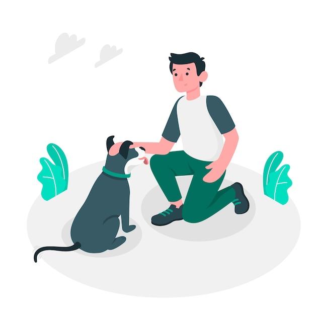 Goed doggy illustratieconcept Gratis Vector