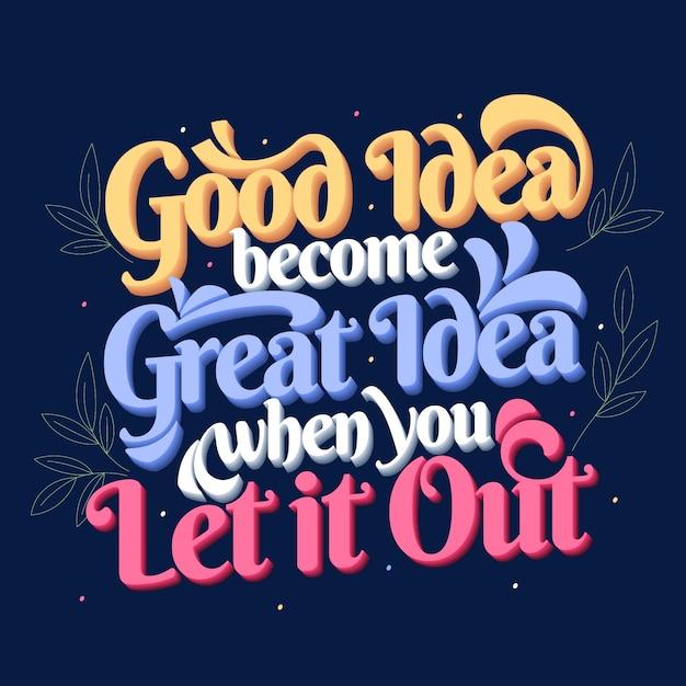 Goed en geweldig idee beroemde citaat belettering poster Gratis Vector