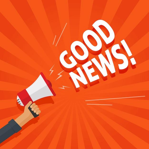 Goed nieuws informatie alert of aankondiging uit de hand met megafoon of luidspreker Premium Vector