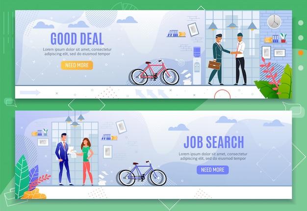 Goede deal en zoeken naar werk cartoon banner flat set Premium Vector