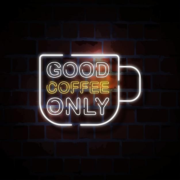 Goede koffie alleen neon stijl teken illustratie Premium Vector