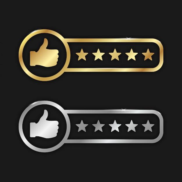 Goede kwaliteit productbeoordelingen goud en zilver Premium Vector