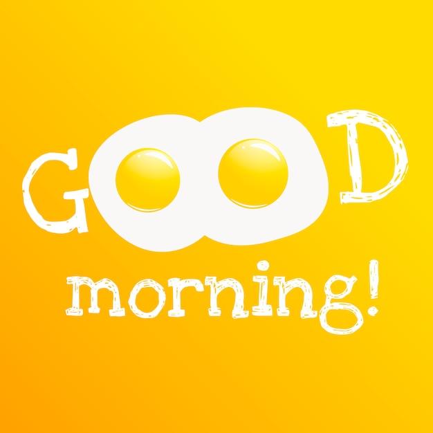 Goede morgen banner. klassiek smakelijk ontbijt van roereieren. Gratis Vector