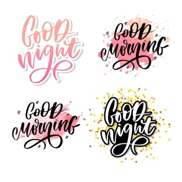 Goede nacht. hand getrokken typografie. Premium Vector