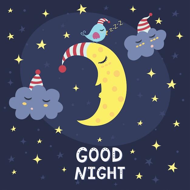 Goede nacht kaart met de schattige slapende maan, wolken en een vogel. vector illustratie Premium Vector