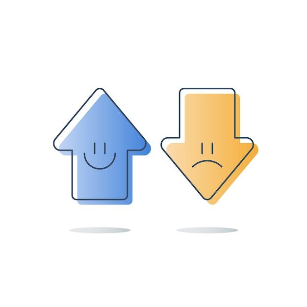 Goede of slechte klantbeoordeling, evaluatie van servicekwaliteit, gelukkige of ongelukkige ervaring, feedbackenquête, opiniepeiling, concept van tevredenheidsbeoordeling, pijlen omhoog of omlaag, pictogram Premium Vector