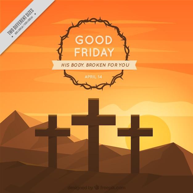 Goede vrijdag achtergrond met doornenkroon en kruisen bij zonsondergang Gratis Vector