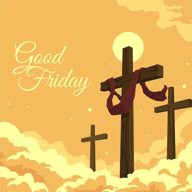 Goede vrijdag illustratie met kruisen Gratis Vector