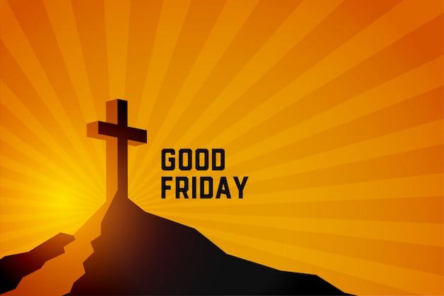 Goede vrijdag opstanding van jezus christus scène achtergrond Gratis Vector