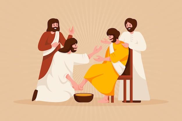 Goede vrijdagillustratie met jezus en discipelen die voeten wassen Gratis Vector