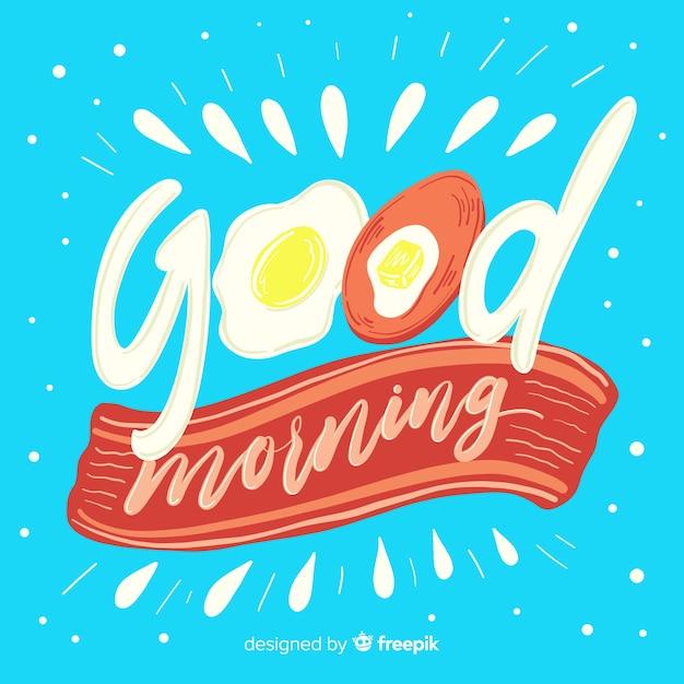 Goedemorgen belettering achtergrond hand getrokken stijl Gratis Vector