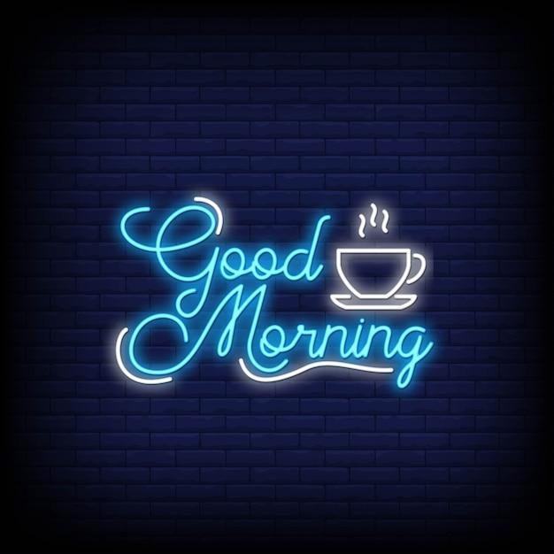 Goedemorgen in neonstijl. goedemorgen neonreclames. Premium Vector