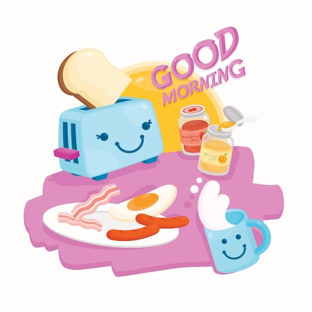 Goedemorgen met schattig ontbijt Premium Vector