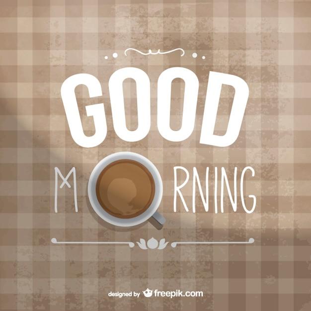 Goedemorgen typografie met koffie Gratis Vector