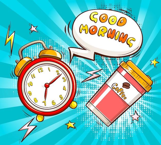 Goedemorgenbeeldverhaal met alarm en koffiekop Gratis Vector