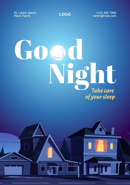Goedenacht poster met huizen en maan in donkere hemel. Gratis Vector