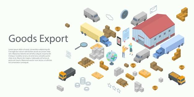 Goederen export concept banner, isometrische stijl Premium Vector