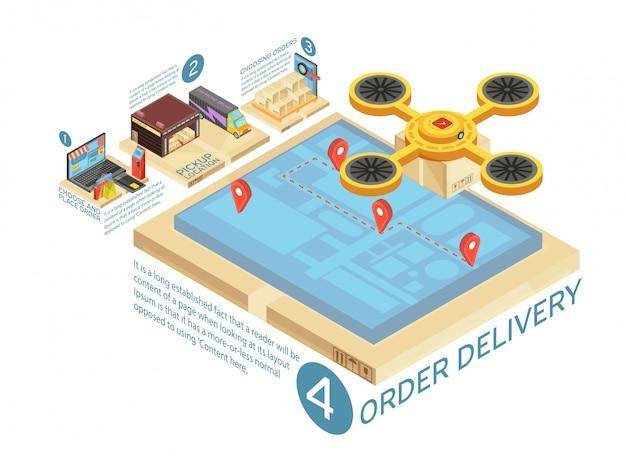Goederen online levering isometrische infographics met internet winkelen, magazijn, route transport op scherm van gadget vectorillustratie Gratis Vector