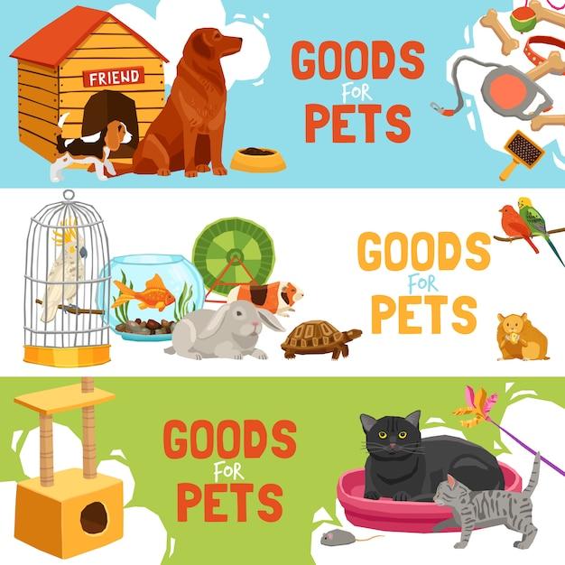 Goederen voor huisdieren horizontale banners Gratis Vector
