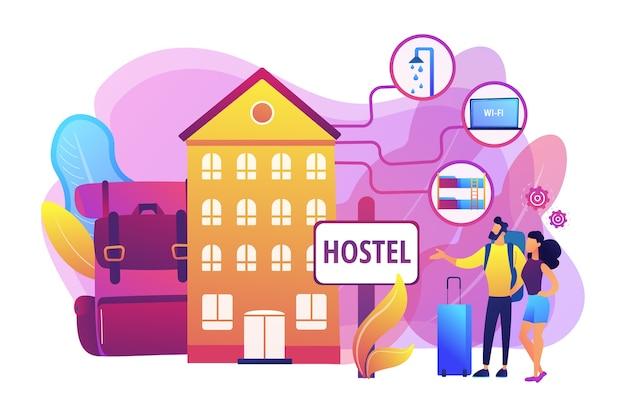 Goedkope herberg, betaalbaar pension. college slaapzaal, motel inchecken. hostel diensten, goedkopere accommodatie, beste hostel faciliteiten concept. Gratis Vector