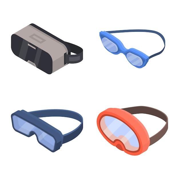 Goggles pictogramserie. isometrische reeks beschermende brillen vectorpictogrammen voor webontwerp dat op witte achtergrond wordt geïsoleerd Premium Vector