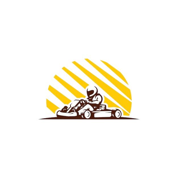 Gokart race clipart geïsoleerd Premium Vector