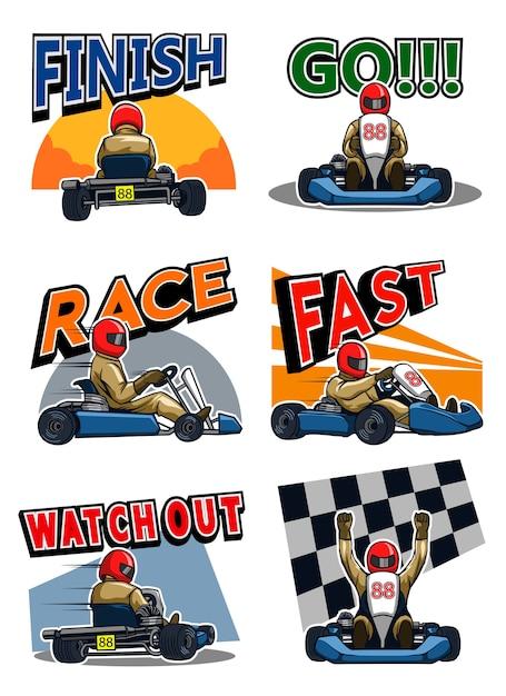 Gokart racer Premium Vector