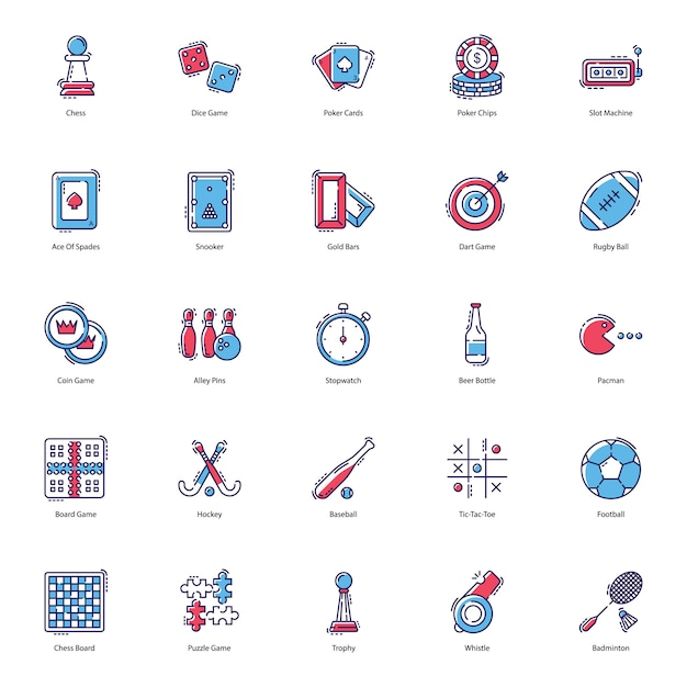 Gokspellen flat icons pack Premium Vector