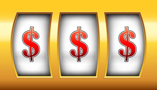 Gokspoel, casino gokautomaat, grote winst, 777. Premium Vector