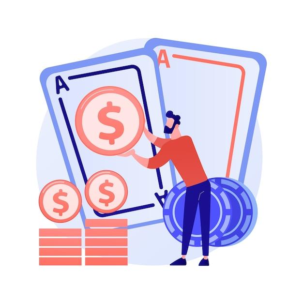Gokwinst, geluk en kans, jackpotprijs. casino, poker, kaartspel winnen. geldwinnaar, gokker, kaartspeler stripfiguur Gratis Vector