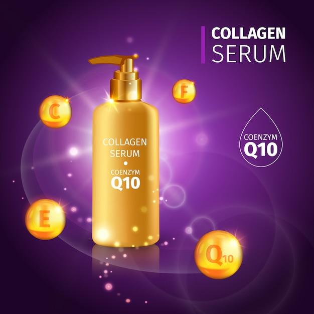 Gold collagen serum tubes met realistische tube cream met vitamines Gratis Vector