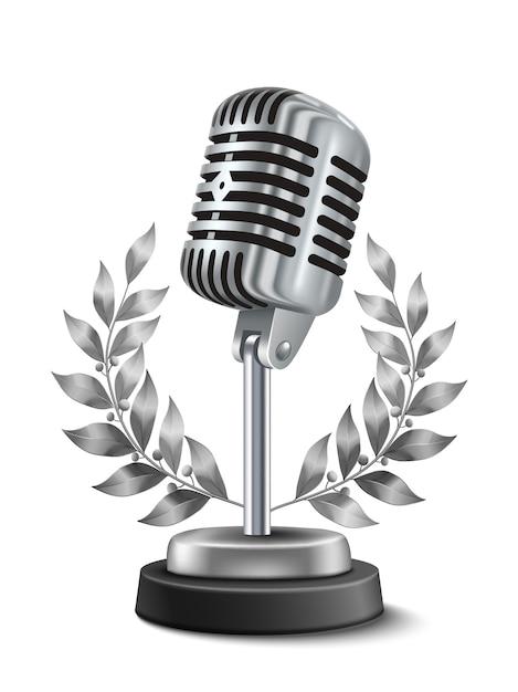Gold microphone award Gratis Vector