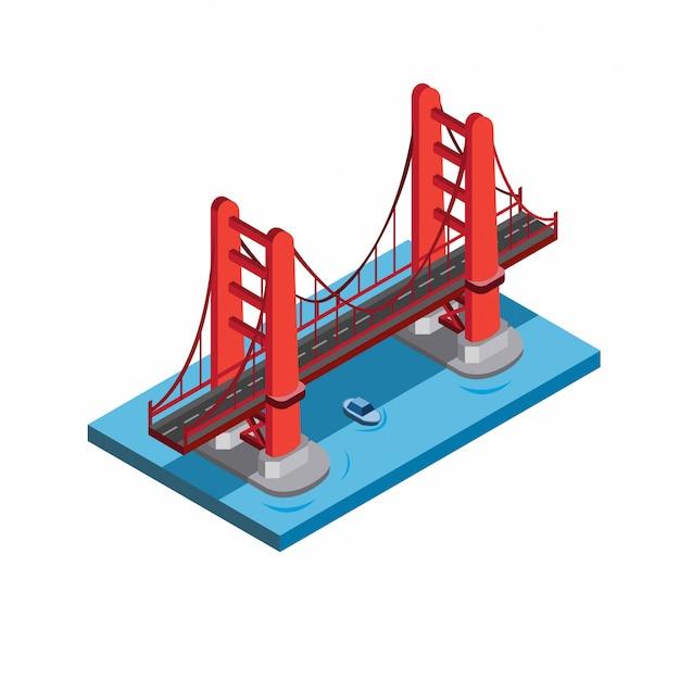 Golden gate bridge, san fransisco, miniatuur landmark gebouw. rode brug in zee met blauwe boot onder illustratie in isometrische vlakke stijl Premium Vector