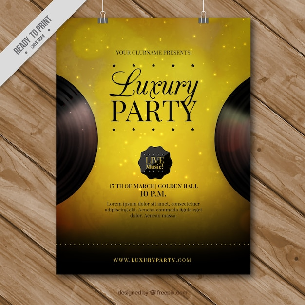 Golden party poster Gratis Vector