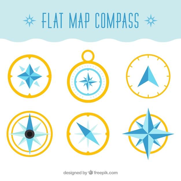Golden platte kaart kompas collectie Gratis Vector