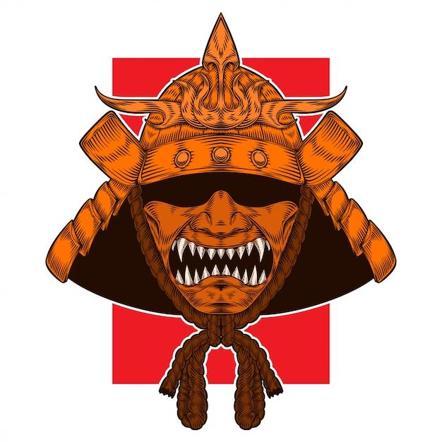 Golden samurai warrior warhelm Premium Vector