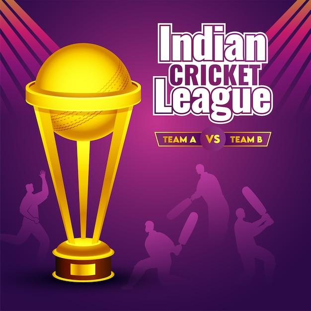 Golden trophy cup op paarse achtergrond met silhouet batsman en bowler van deel te nemen team a & b voor indian cricket league. Premium Vector