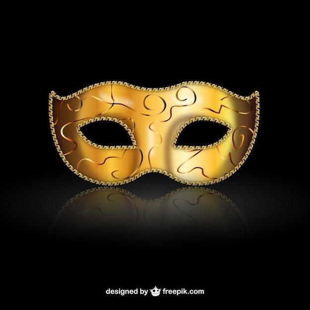 Golden venetiaans masker Gratis Vector