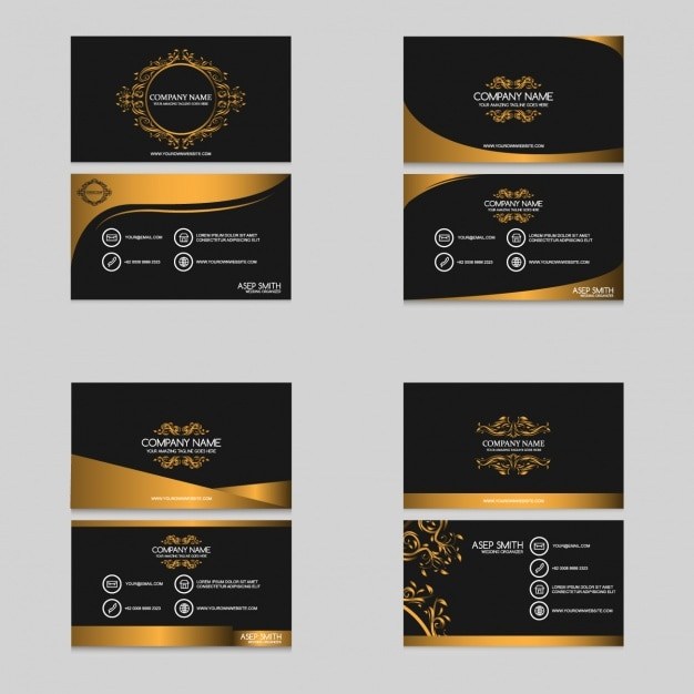Golden visitekaartjes collectie Gratis Vector