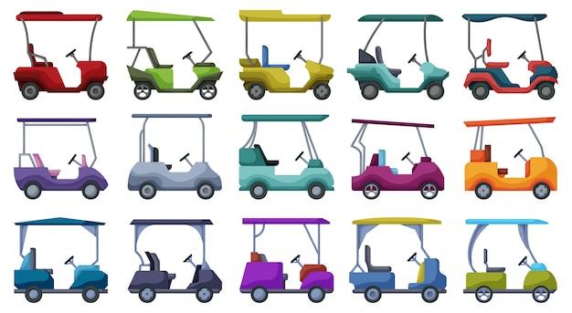Golf auto cartoon set pictogram. illustratie auto op witte achtergrond. cartoon instellen pictogram golf auto. Premium Vector