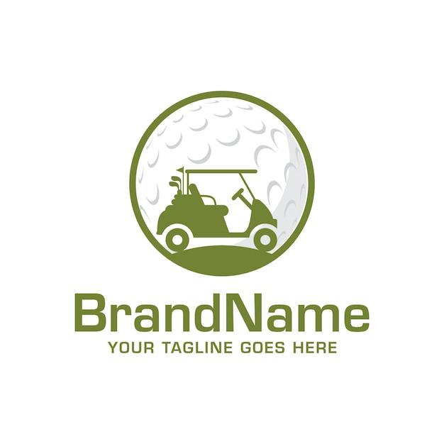 Golf auto logo vector sjabloon Premium Vector